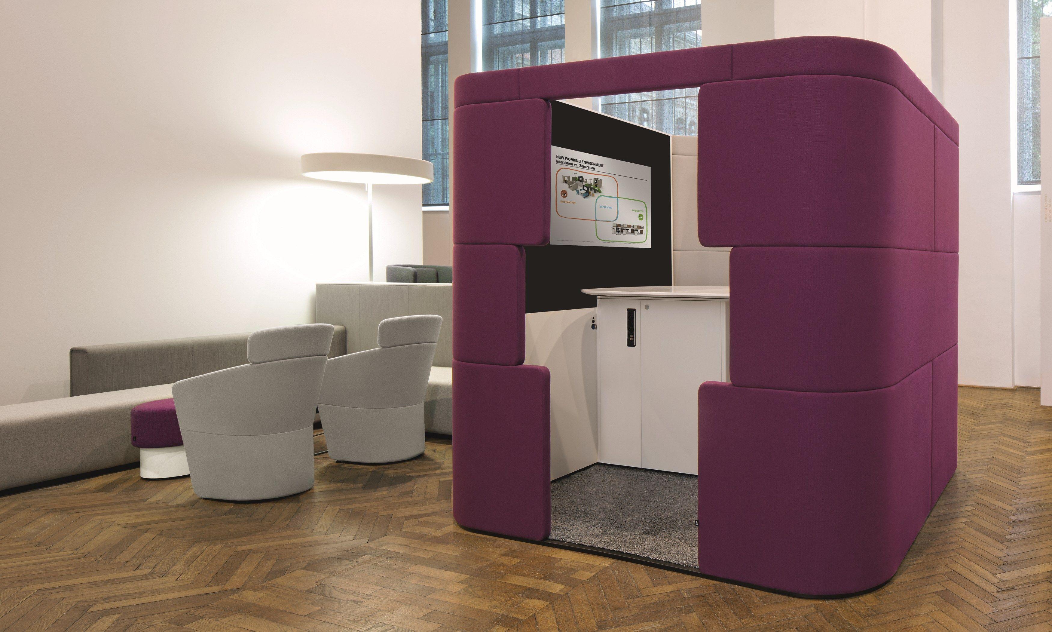acoustic meeting pod with built in lights parcs toguna by bene design pearsonlloyd. Black Bedroom Furniture Sets. Home Design Ideas