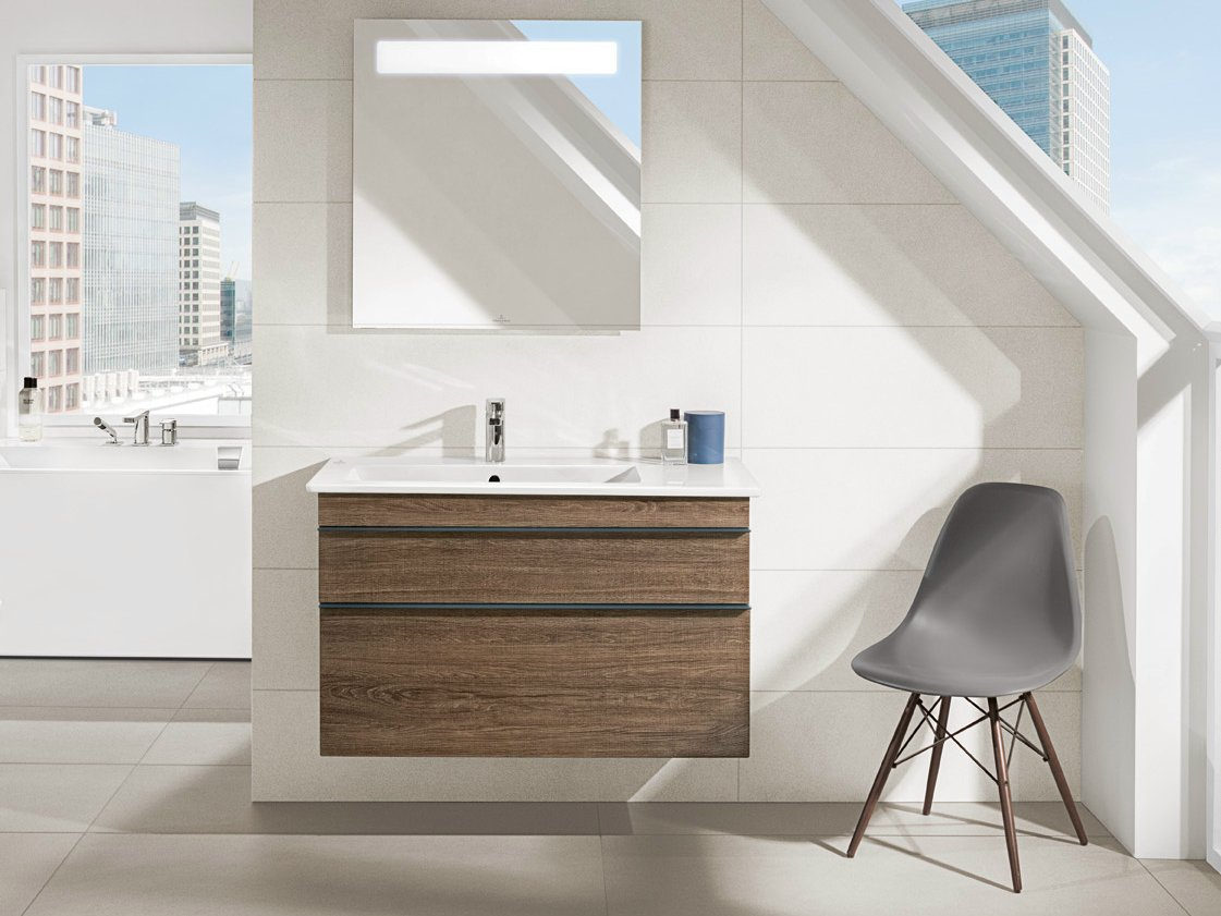Contemporary bathroom vanity lighting - Wall Mounted Vanity Unit With Drawers Venticello Vanity Unit