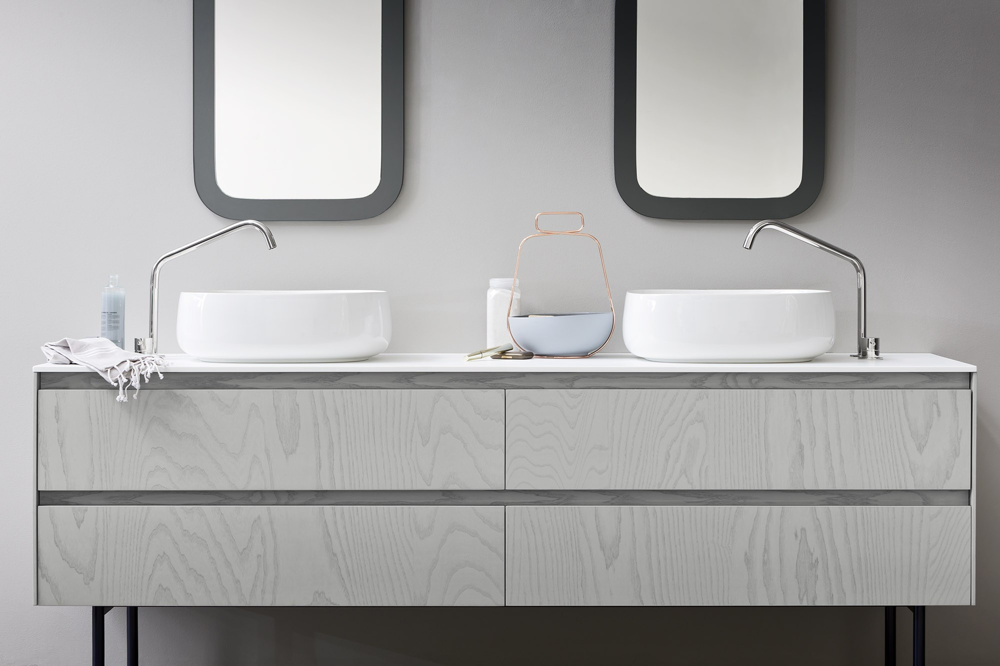 Moode mueble bajo lavabo doble by rexa design dise o for Bajo lavabo