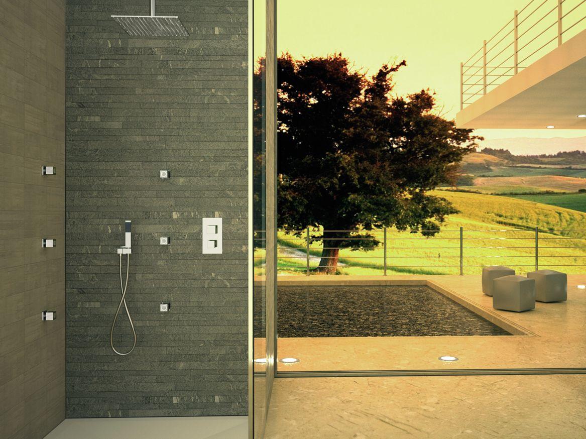 Set doccia termostatico con soffione e getti a incasso - Soffione doccia incasso ...