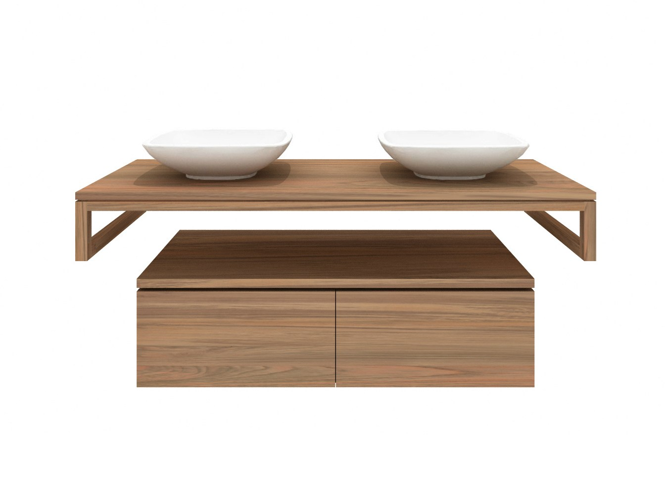 Teak fellow meuble sous vasque double by ethnicraft for Meuble sous vasque double