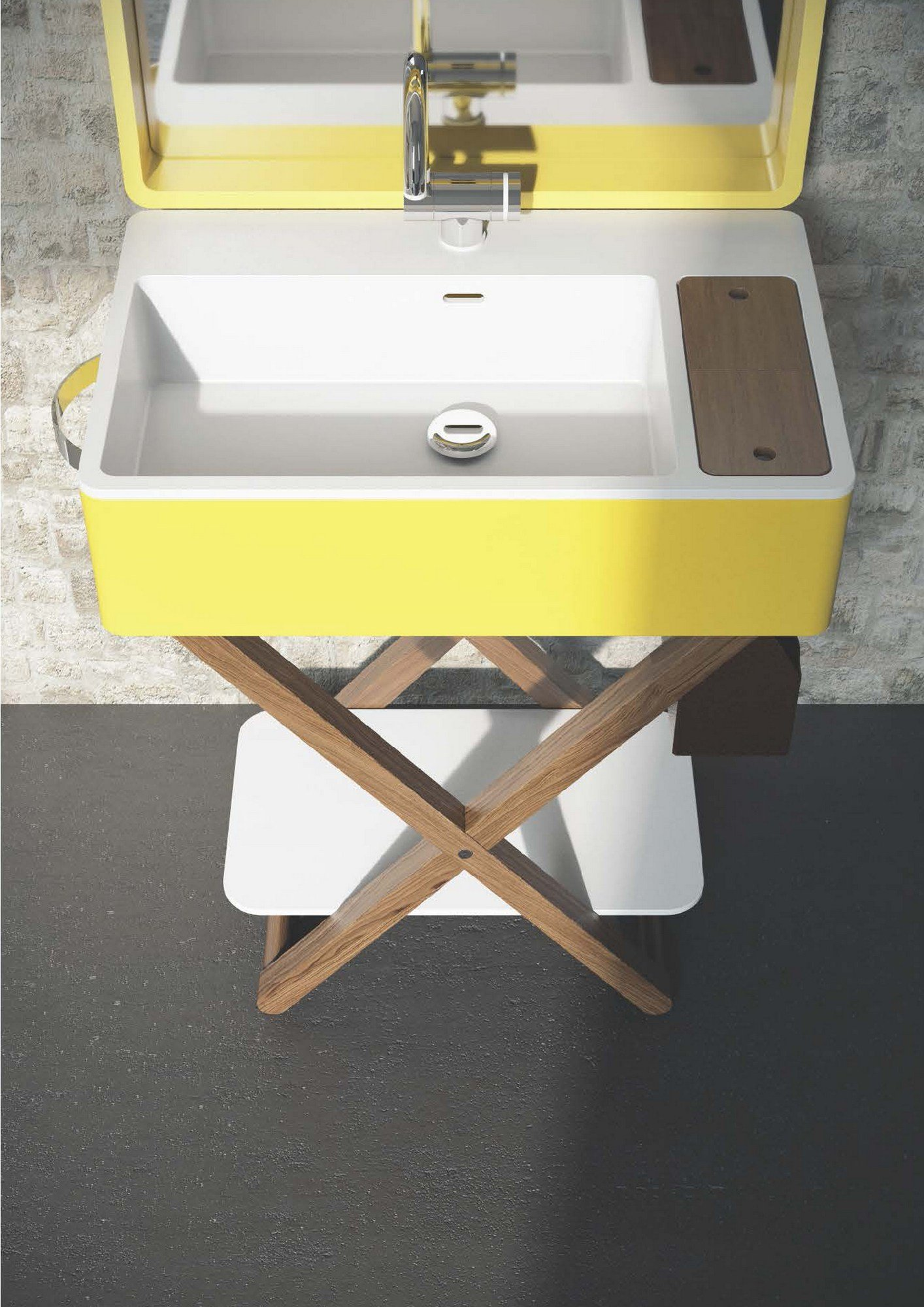 waschbecken mit handtuchhalter my bag by olympia ceramica. Black Bedroom Furniture Sets. Home Design Ideas