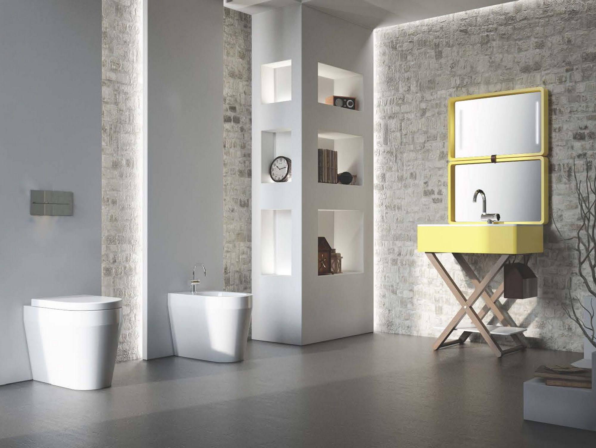 waschbecken mit handtuchhalter my bag by olympia ceramica design gianluca paludi. Black Bedroom Furniture Sets. Home Design Ideas
