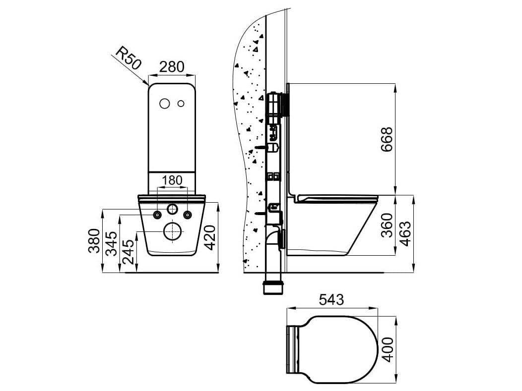 Pin details zu design wc b rstenhalter wand b rstengarnitu for Bidet bloque autocad