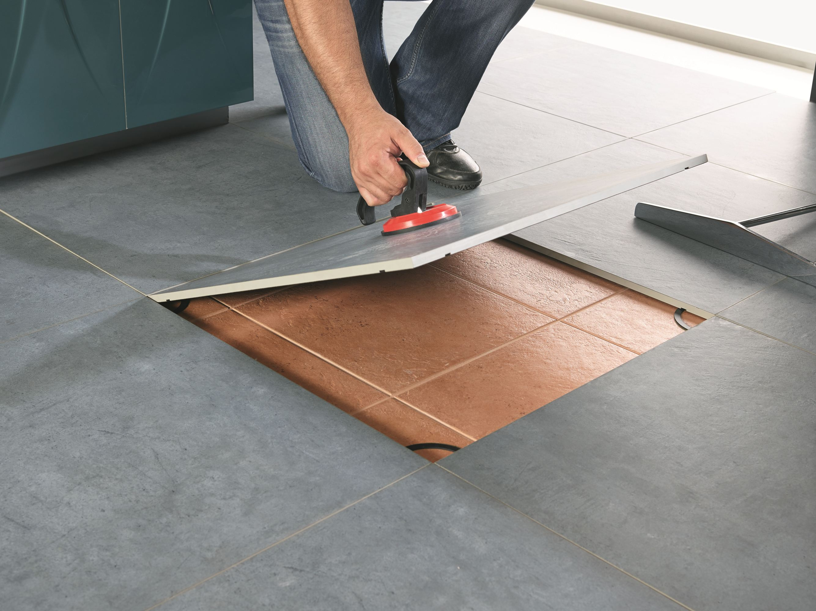 Carrelage adhesif sol for Sol sur carrelage