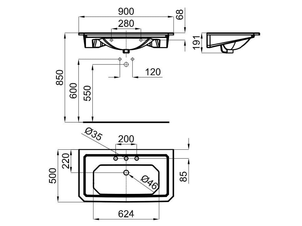 Imagine lavabo rectangular by noken design for Lavabo bajo encimera rectangular