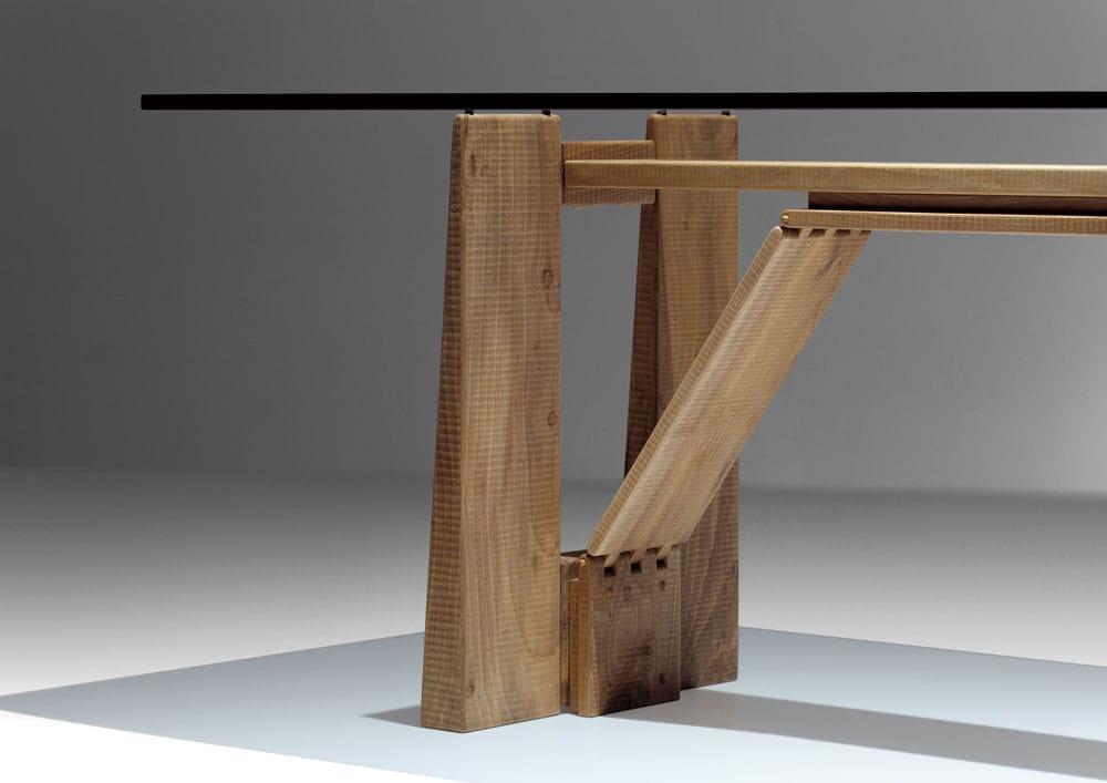 Tavolo rettangolare in legno e vetro perugino by habito by for Tavoli in vetro e legno