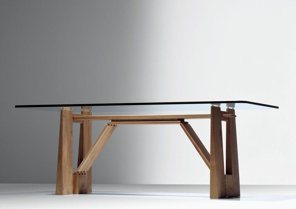 Tavolo rettangolare in legno e vetro perugino by habito by for Tavolo cristallo e legno