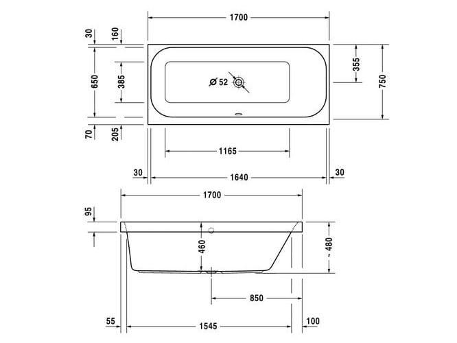 Happy d 2 vasca da bagno rettangolare by duravit design sieger design - Vasca da bagno duravit ...