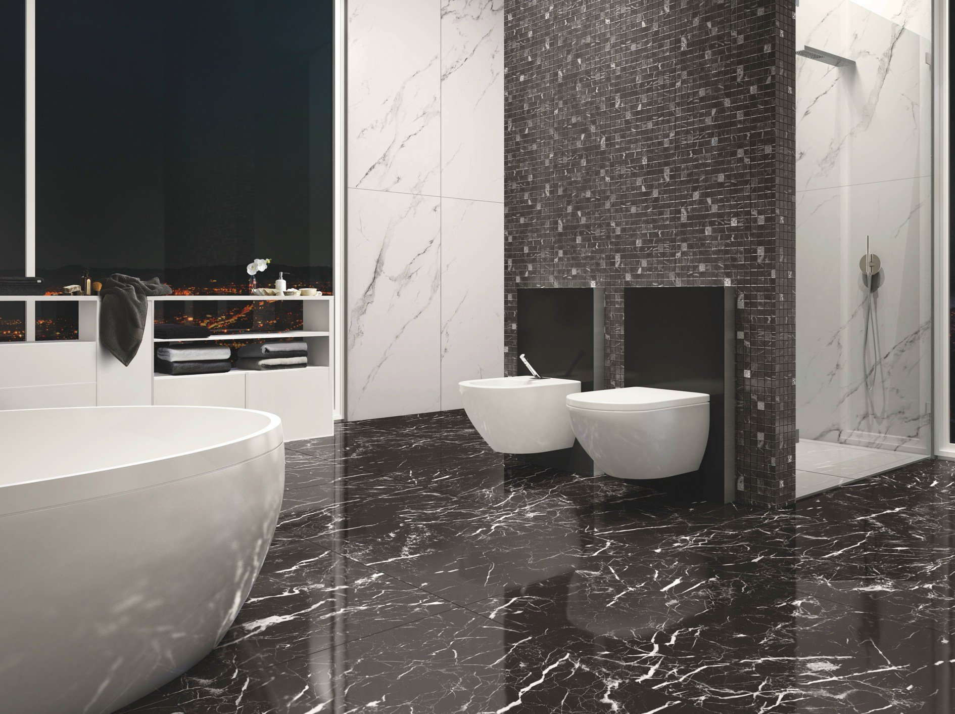 Porcelain stoneware wall floor tiles with marble effect for Moderne wandfliesen