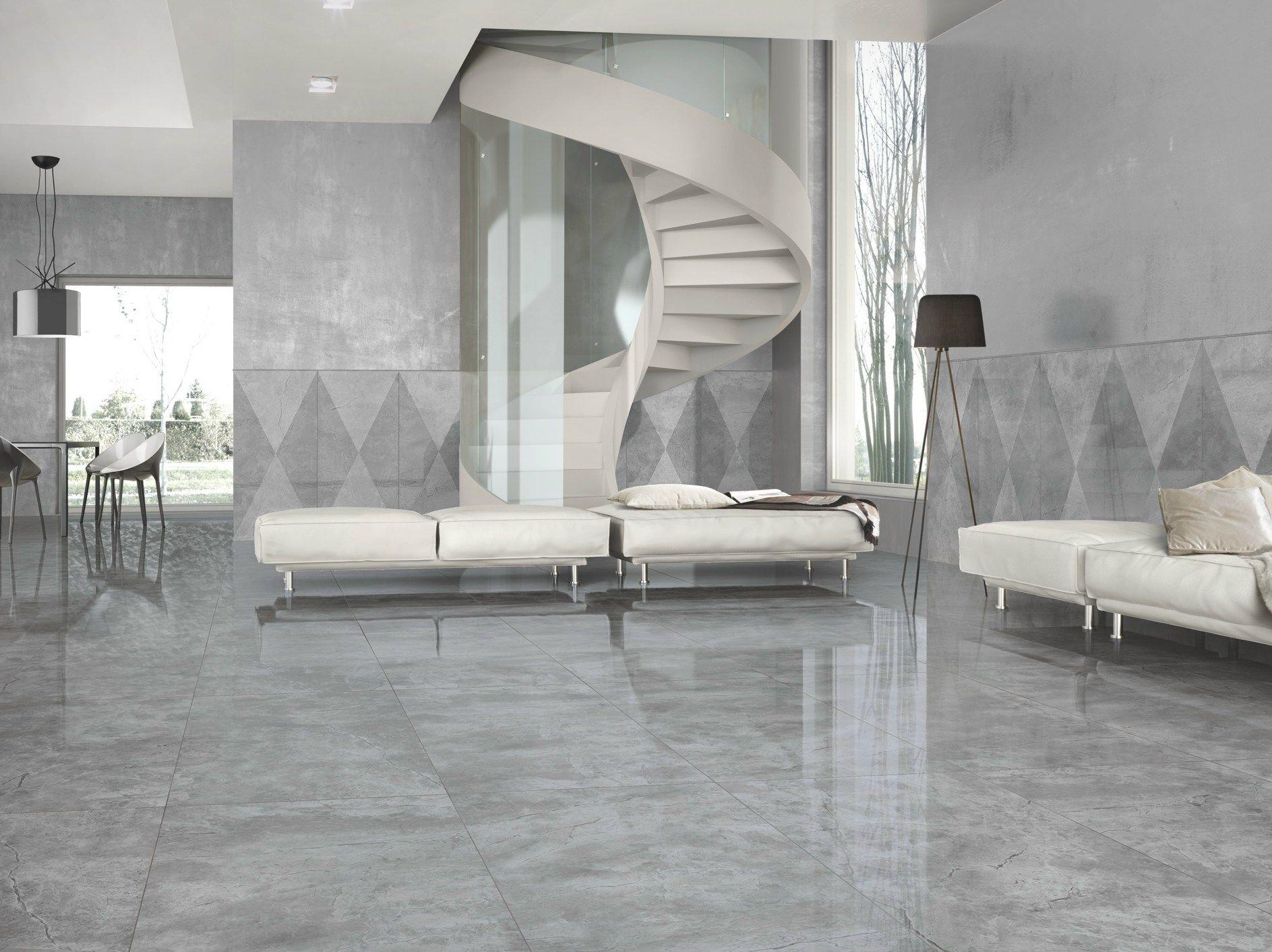 Porcelain stoneware wall floor tiles with marble effect for Interieur maison carrelage gris