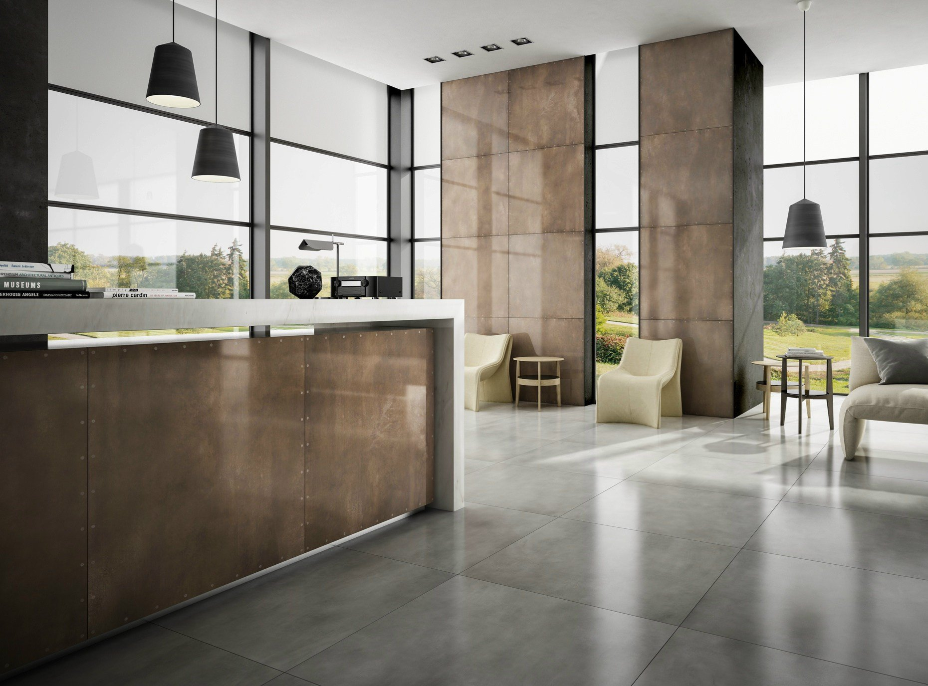 Porcelain stoneware wall floor tiles with metal effect for Carrelage casalgrande padana