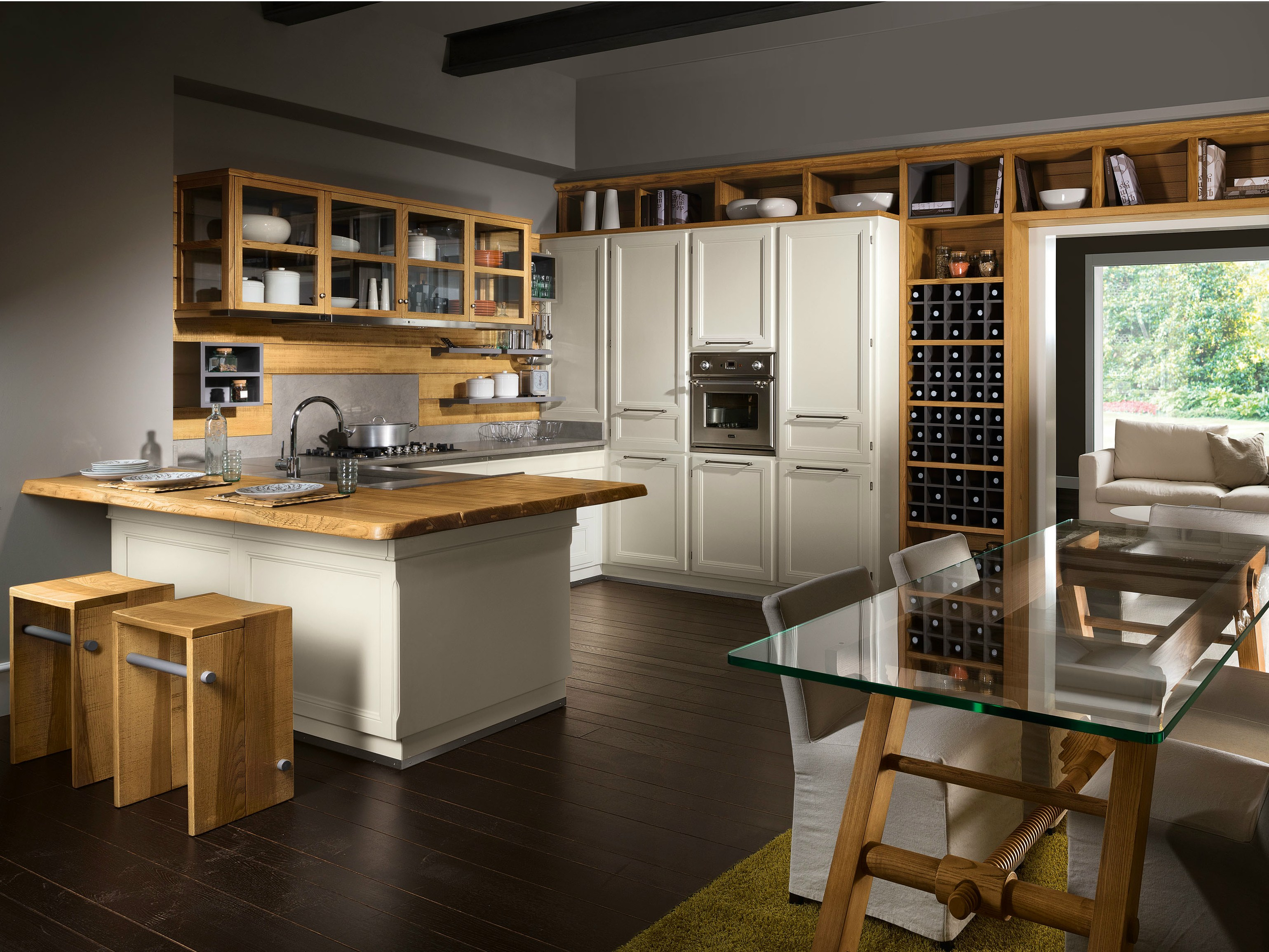 Cucina componibile con penisola living veranda by l 39 ottocento - L ottocento mobili ...