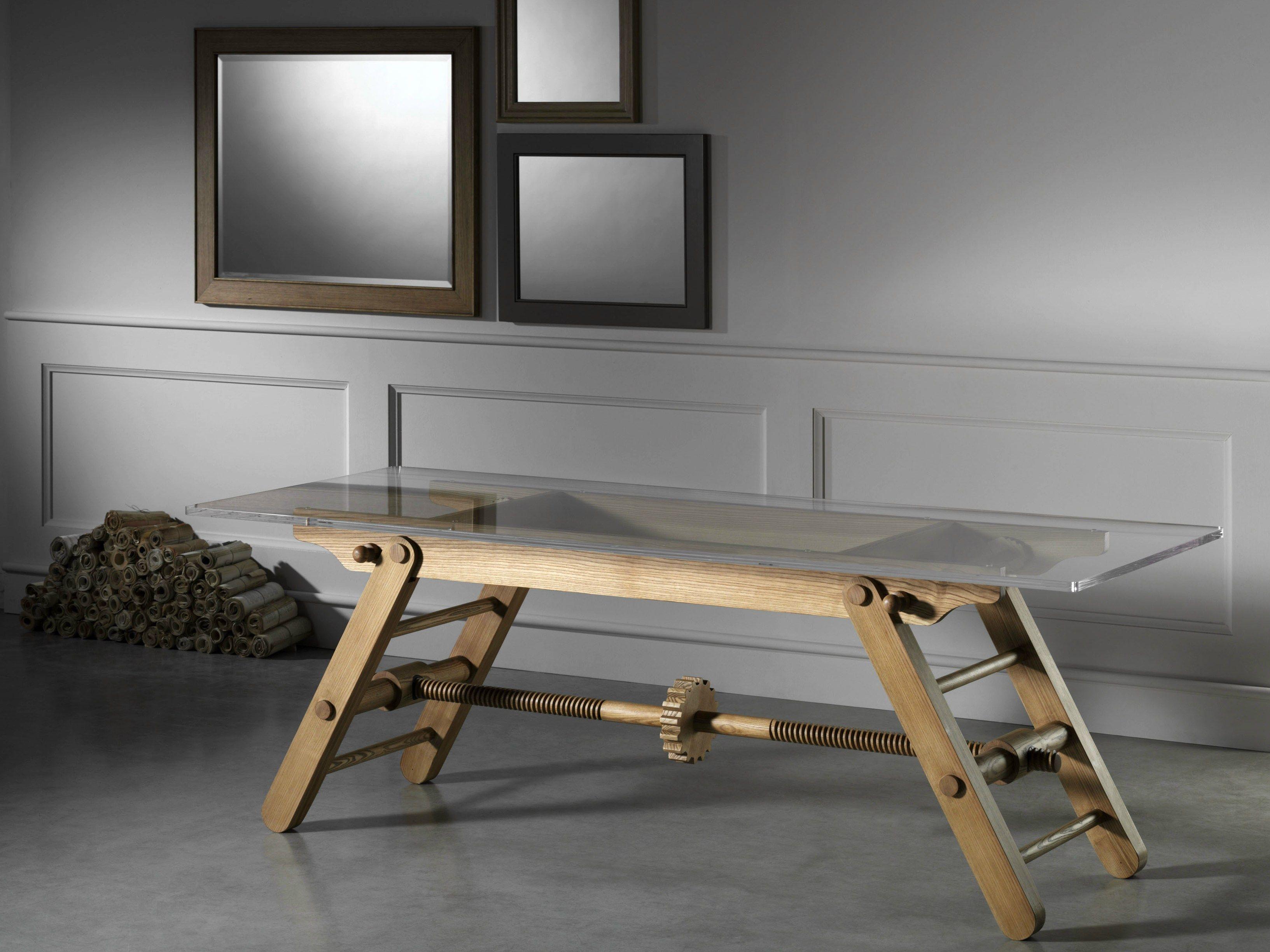 Tavolo ad altezza regolabile in frassino compasso by l 39 ottocento - Tavoli regolabili in altezza prezzi ...