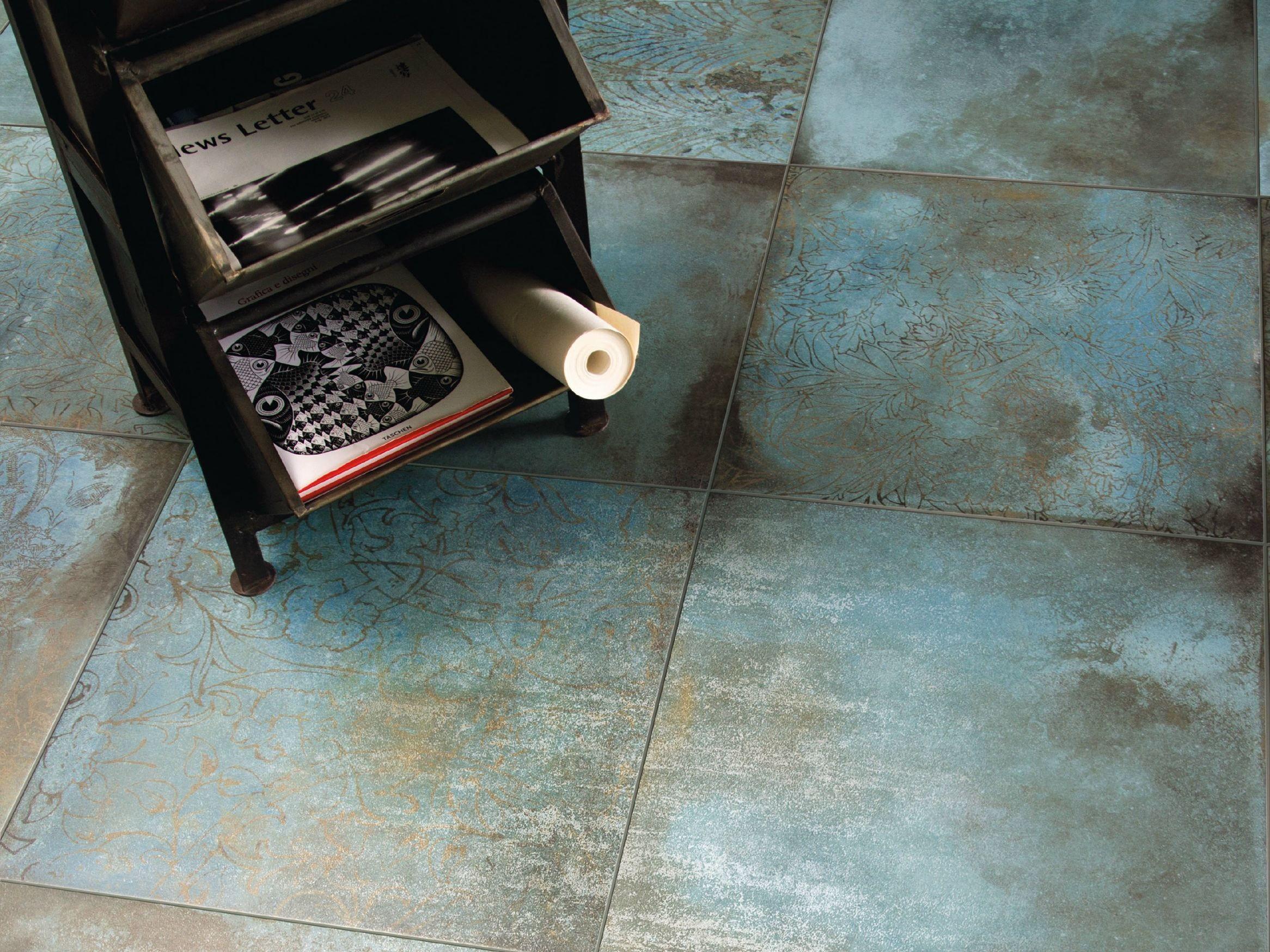 Pavimento rivestimento in gres porcellanato effetto metallo trace mint by ceramiche caesar - Piastrelle effetto metallo ...