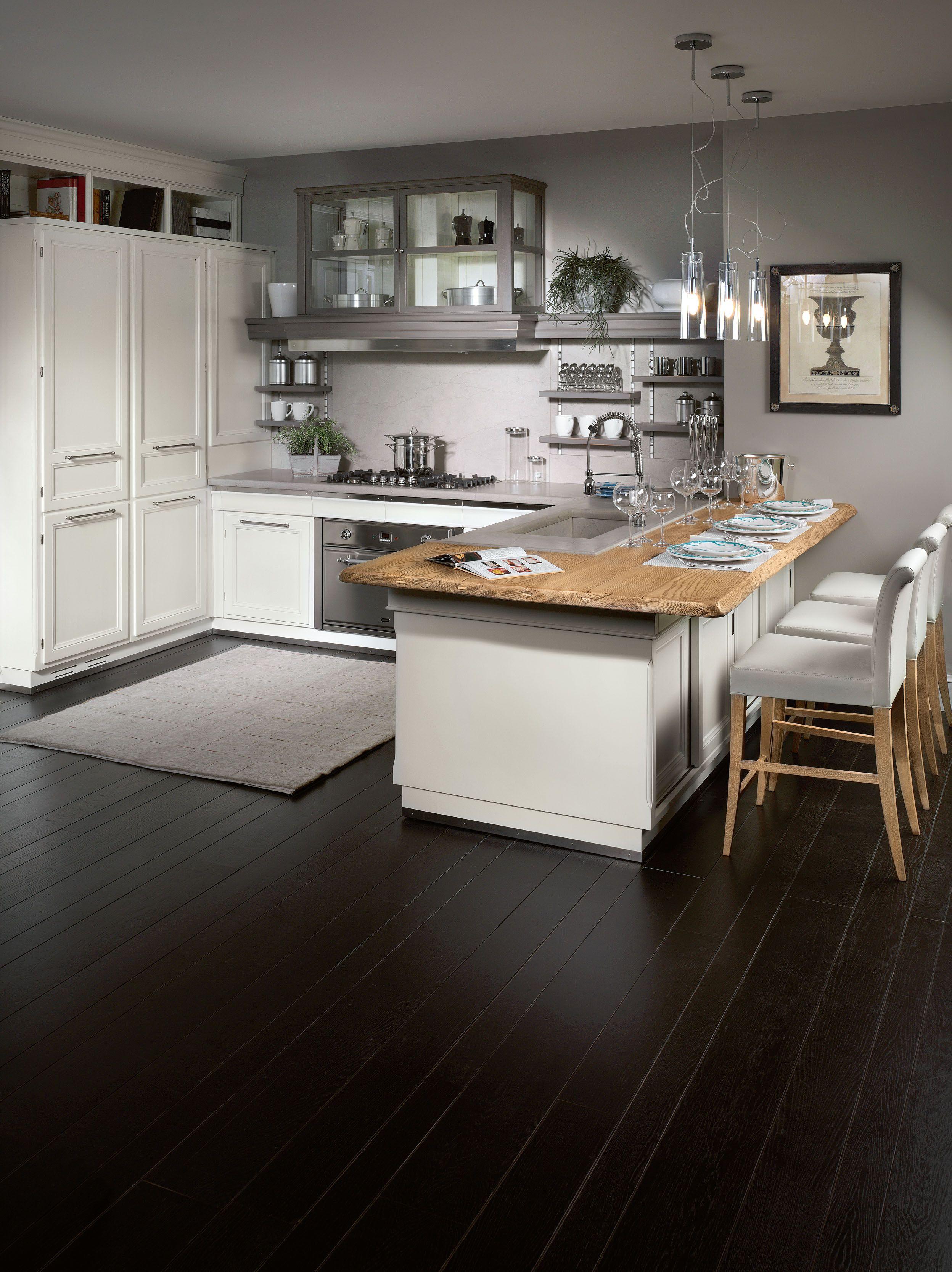 Cucina laccata con penisola living light by l 39 ottocento for Cucina light