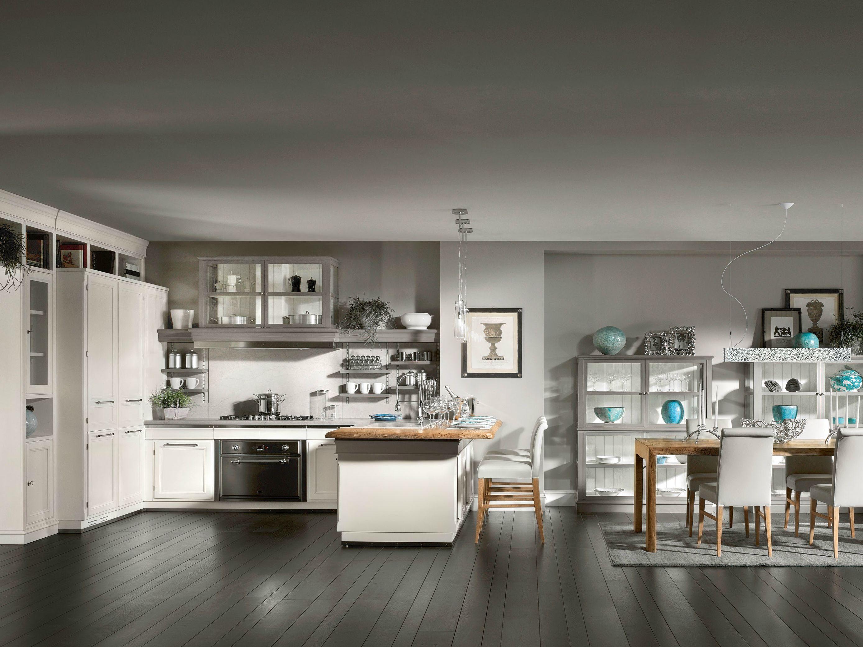 Cucina laccata con penisola living light by l 39 ottocento for Cucine living prezzi