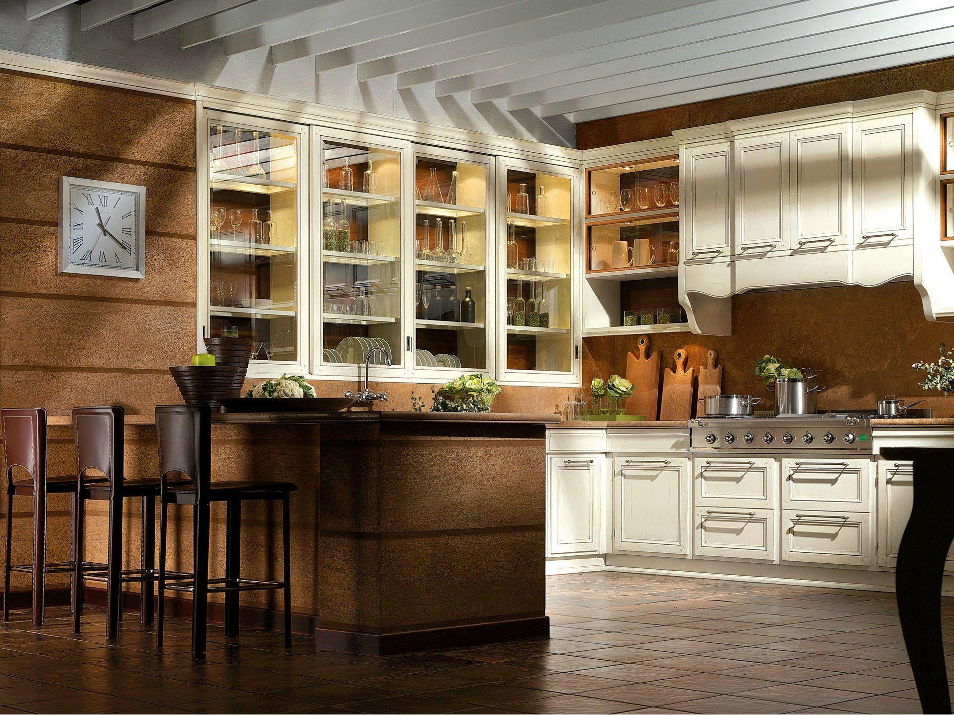 Cucina Classica Con Penisola Legno Massello Greta Cucina Laccata  #301F0F 1917 1437 Cucine Classiche A Basso Costo