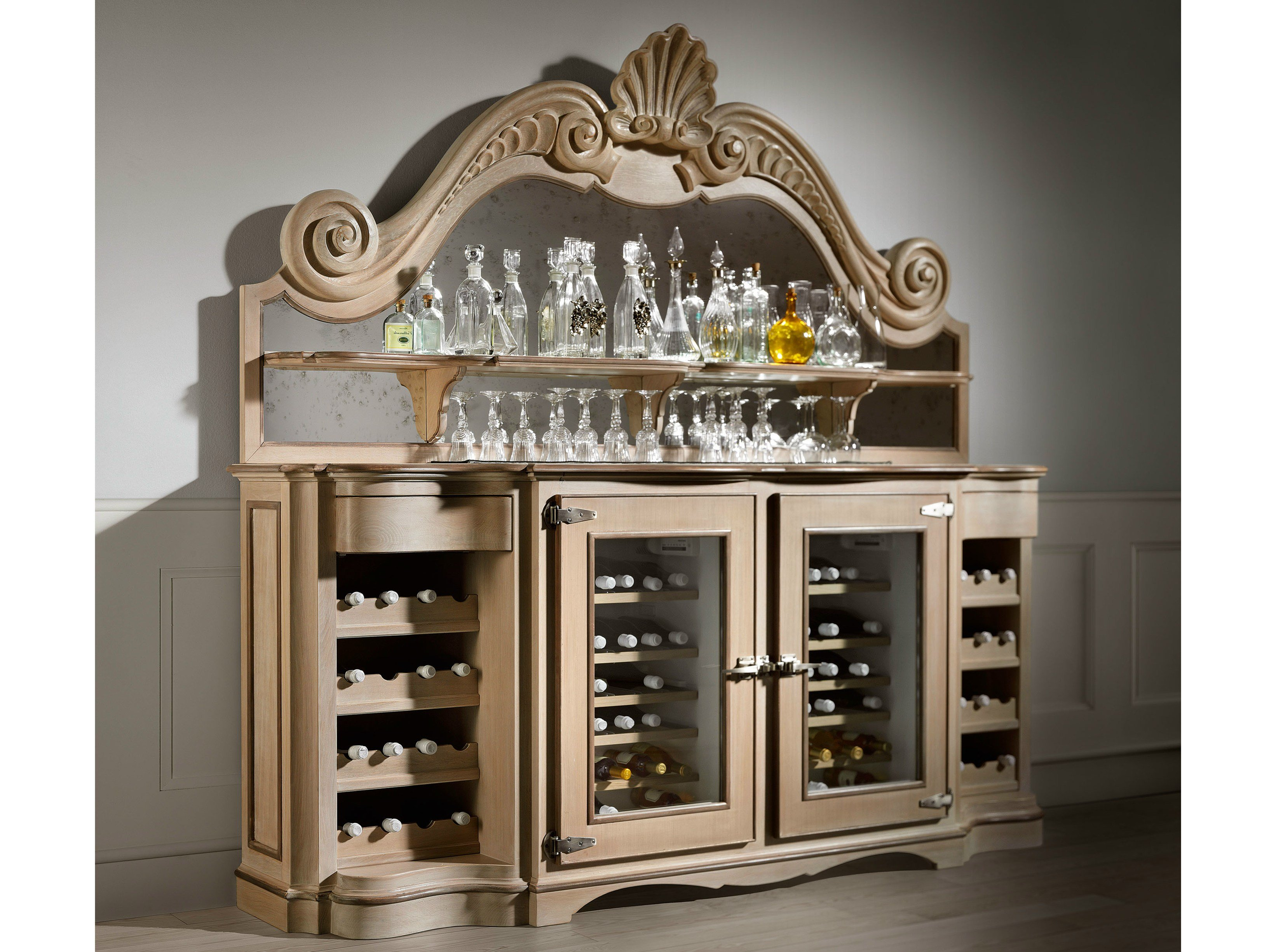 Cave vin meuble bar en bois oyster by l 39 ottocento for Meuble bar avec cave a vin