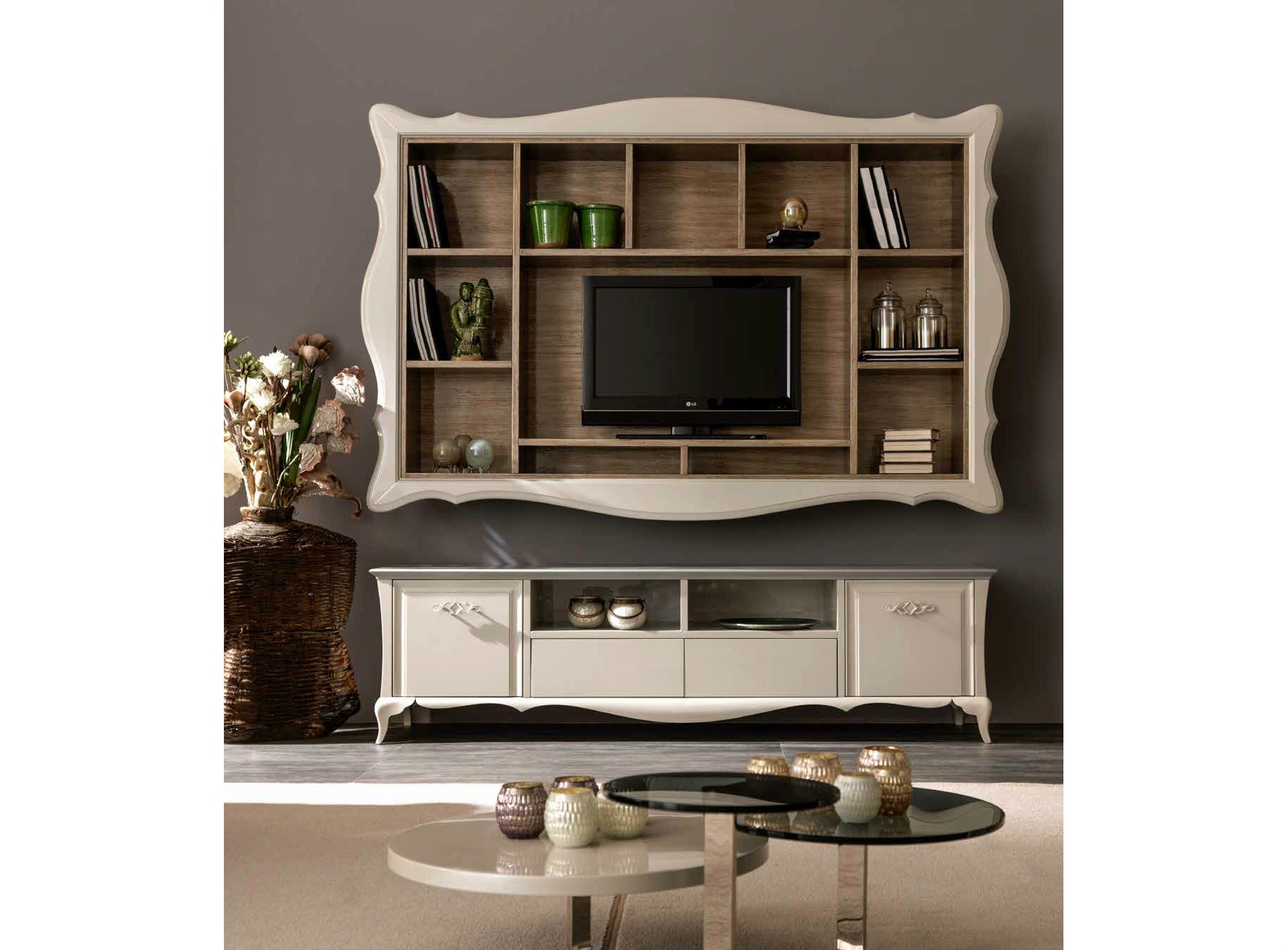 Alice mueble modular de pared con soporte para tv by cortezari - Muebles para tv plana ...