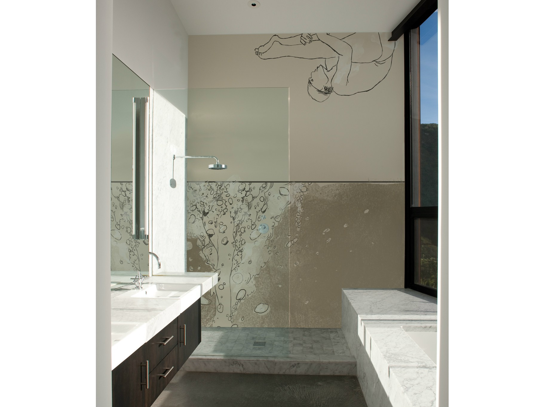 Carta da parati per bagno splash by wall dec design am - Carta da parati adesiva per bagno ...