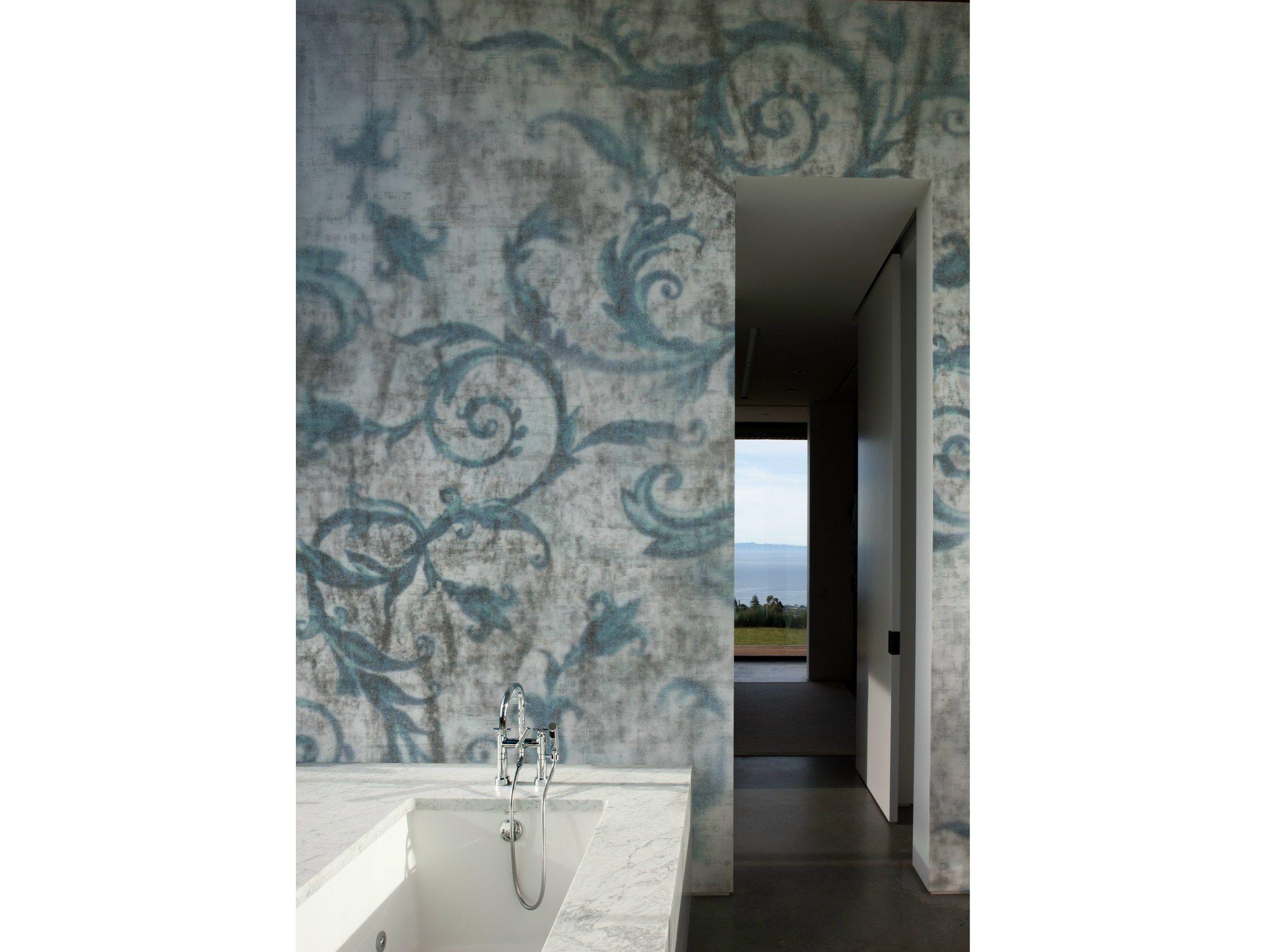 Carta da parati con motivi floreali per bagno d cuper by wall dec design christian benini - Carta da parati lavabile per bagno ...