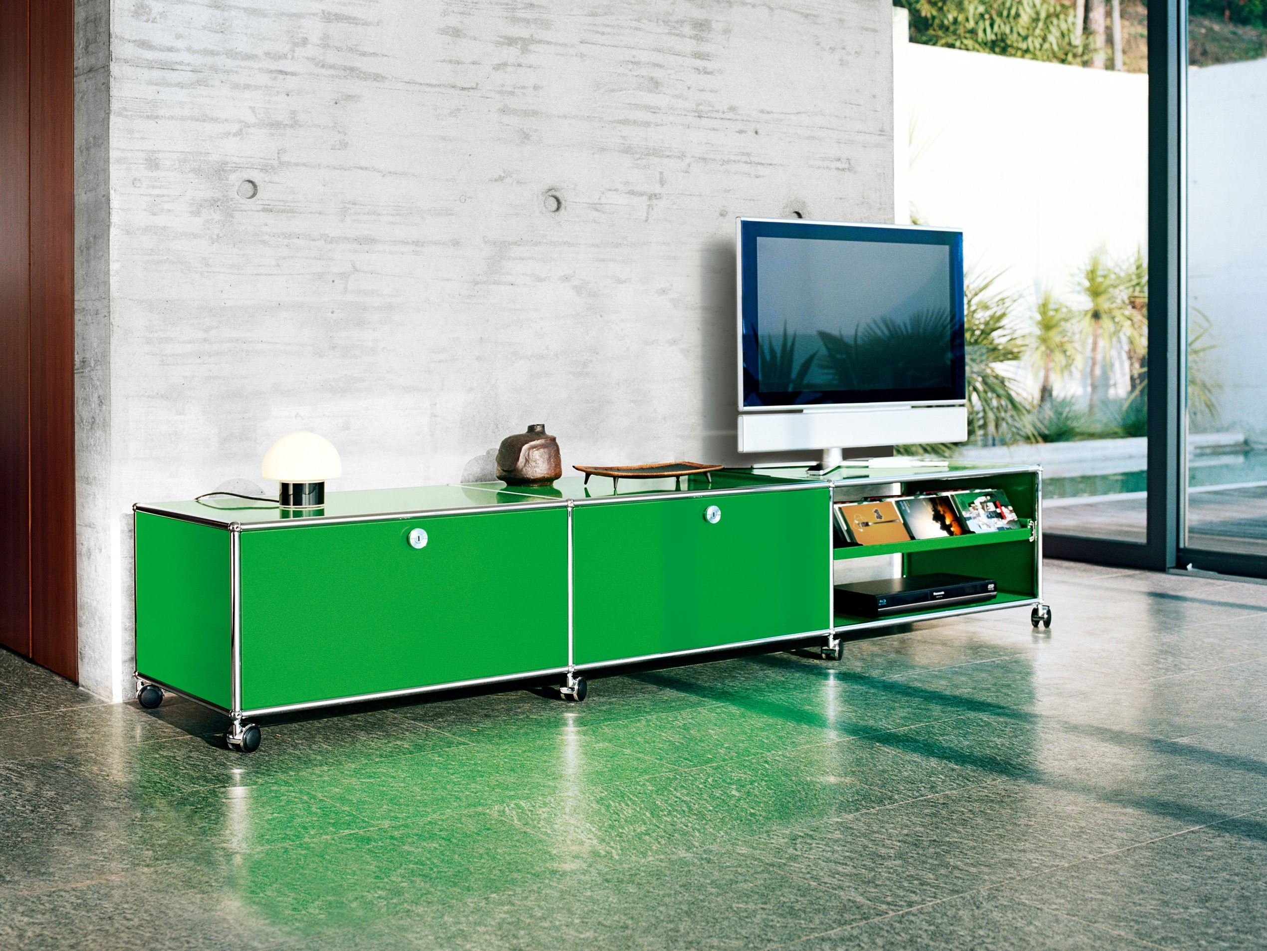 usm haller lowboard as media unit sideboard by usm modular furniture design fritz haller. Black Bedroom Furniture Sets. Home Design Ideas