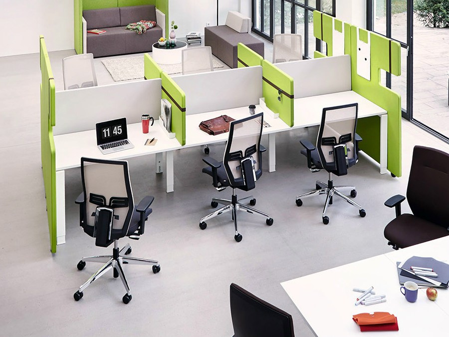 team work space multiple office workstation by k nig. Black Bedroom Furniture Sets. Home Design Ideas