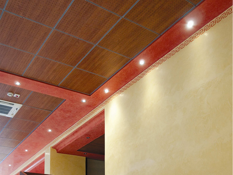 faux plafond en mdf wood shade lay in 15 by itp