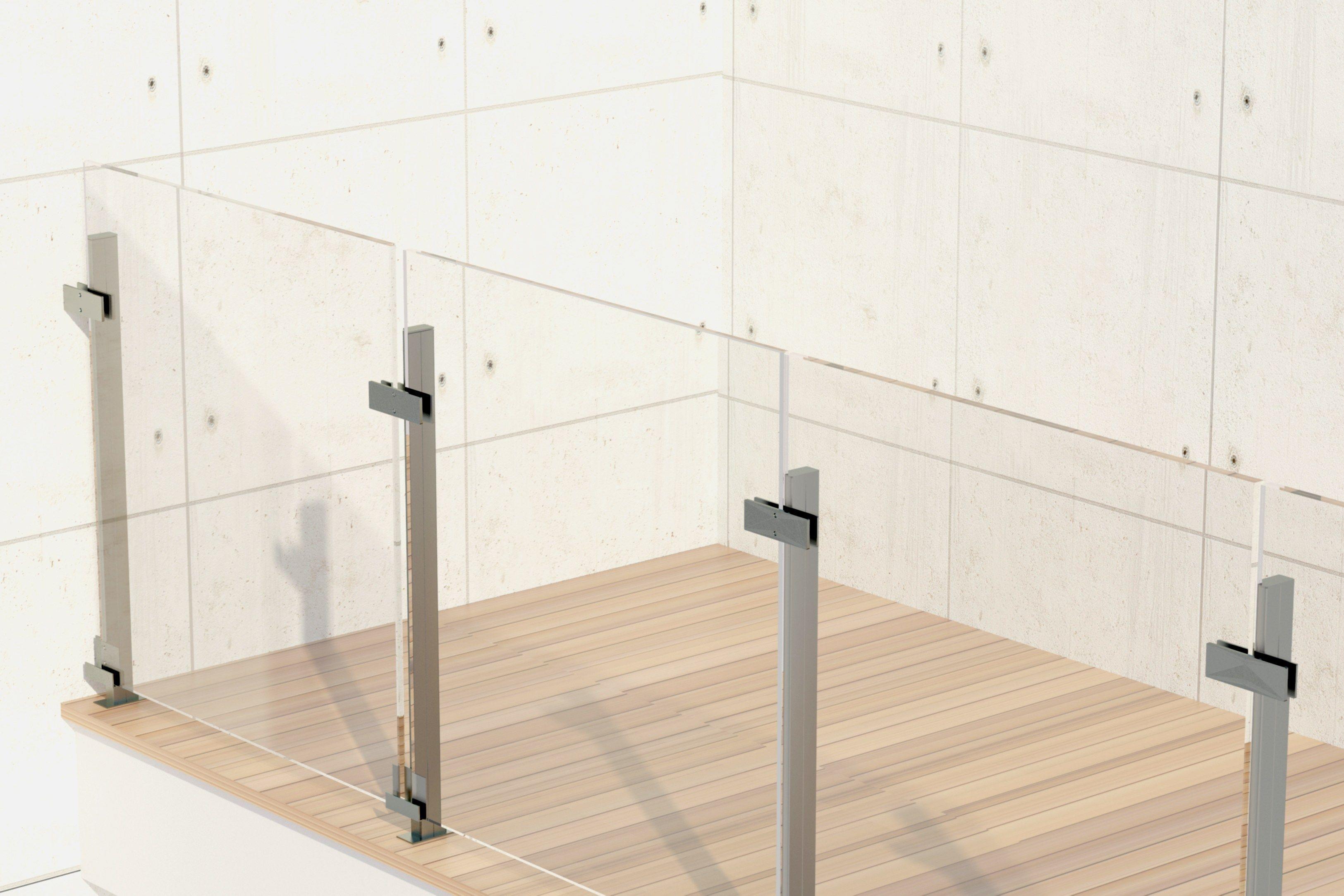 Baranda de escalera en aluminio y vidrio para balcones for Detalle barandilla vidrio