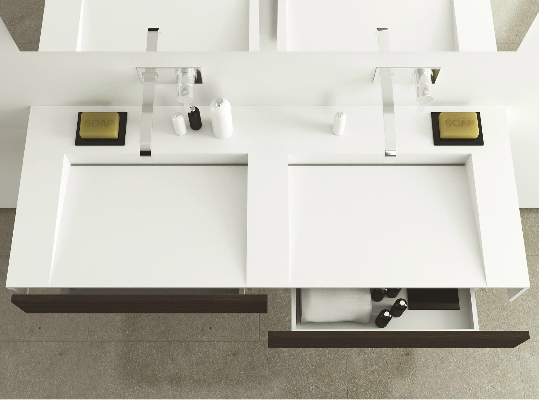 lavabo doppio sospeso in corian con cassetti slim wood by moma design by archiplast. Black Bedroom Furniture Sets. Home Design Ideas