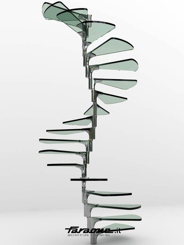 Escalier en colima on en acier inoxydable et verre anima by faraone design ma - Escalier colimacon acier ...