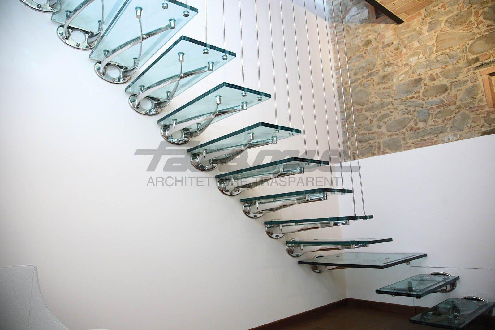 escalera volada de acero inoxidable y vidrio twin by faraone diseo roberto volpe