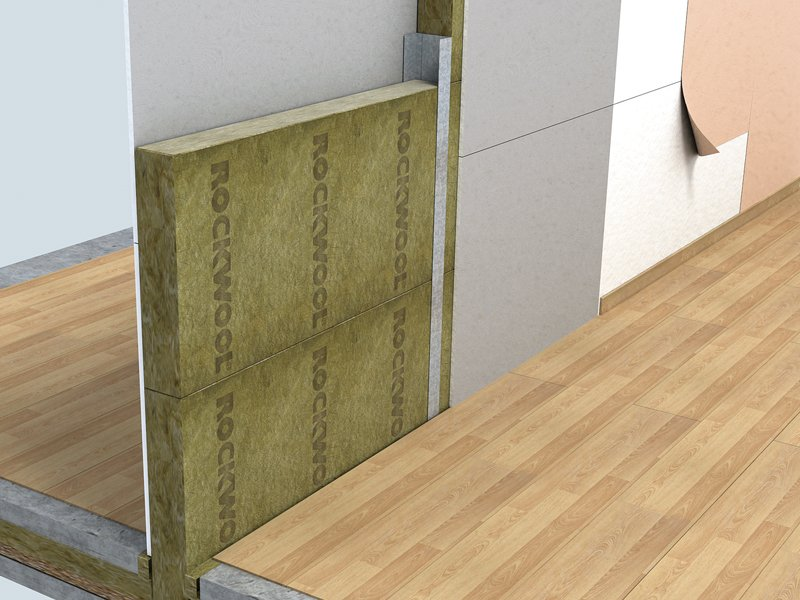 Sound insulation and sound absorbing panel in mineral for Rockwool insulation panels