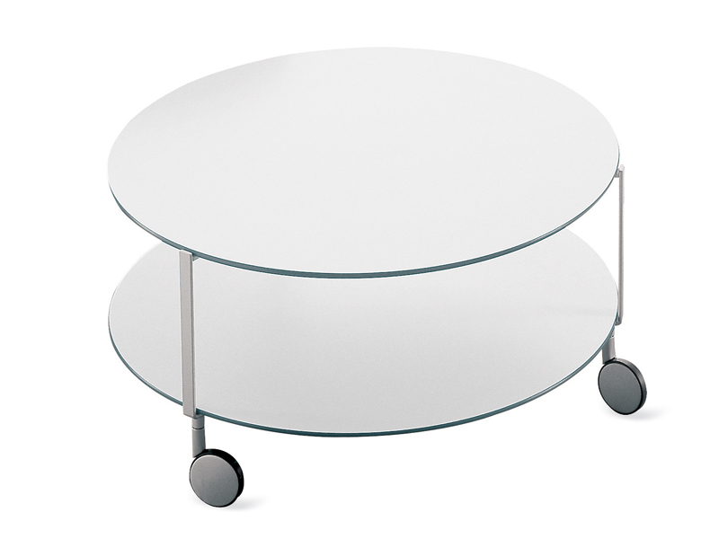 Round coffee table with casters gir by zanotta design for Table zanotta