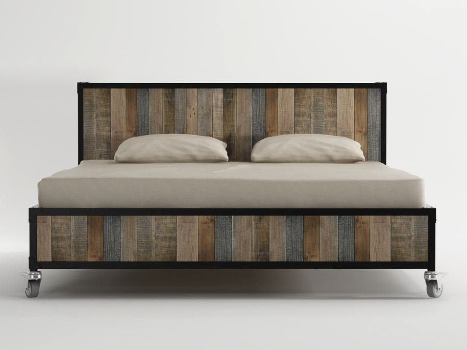 Lit queen size en bois roulettes collection ak 14 by karpenter design ka - Dimension lit queen size ...