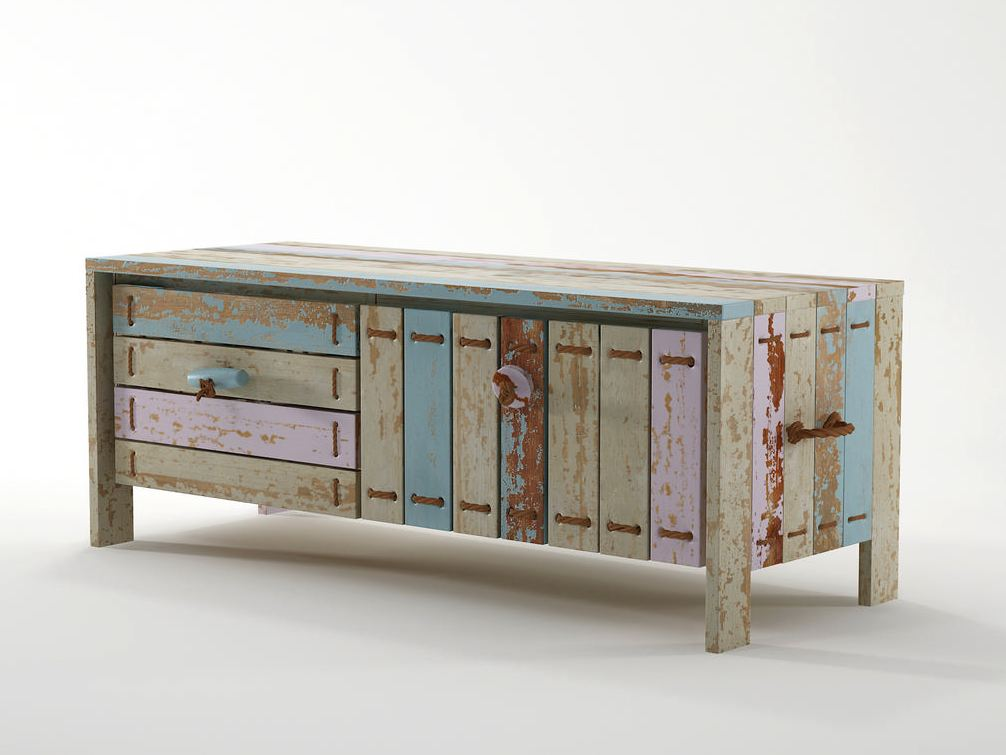 Rope me meuble tv en bois by karpenter design hugues revuelta for Buffet en palette de bois
