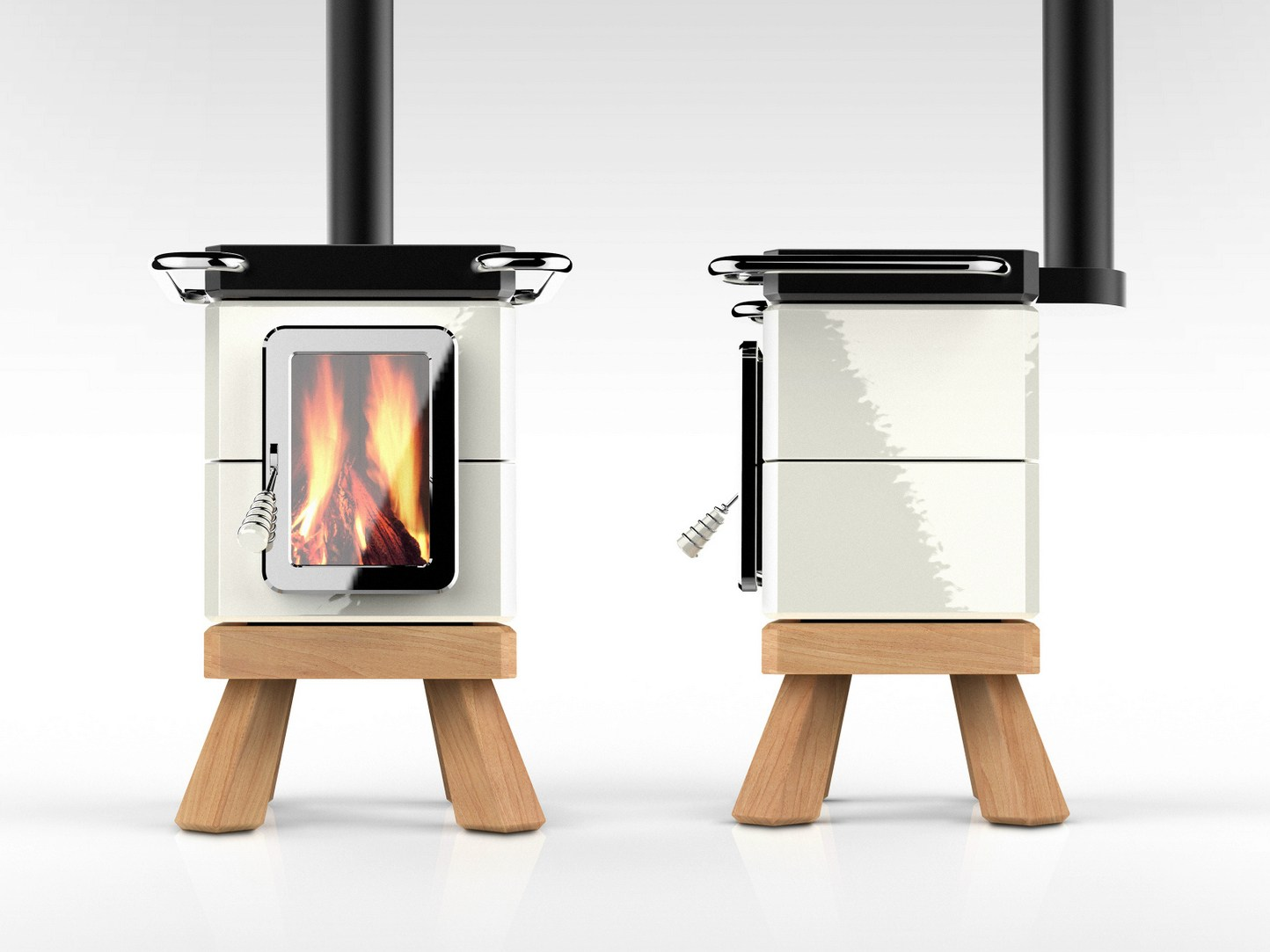 Wood burning ceramic stove with oven cookinstack by la - Stufe a legna design ...