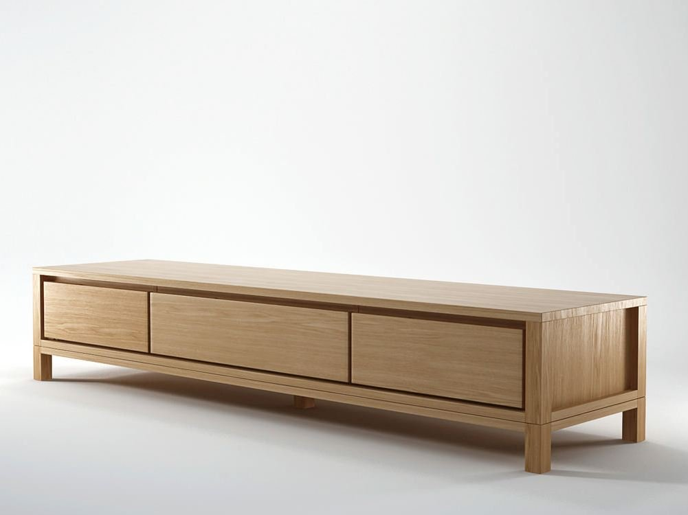 Solid wooden tv cabinet by karpenter design hugues revuelta for Tv cabinets with storage