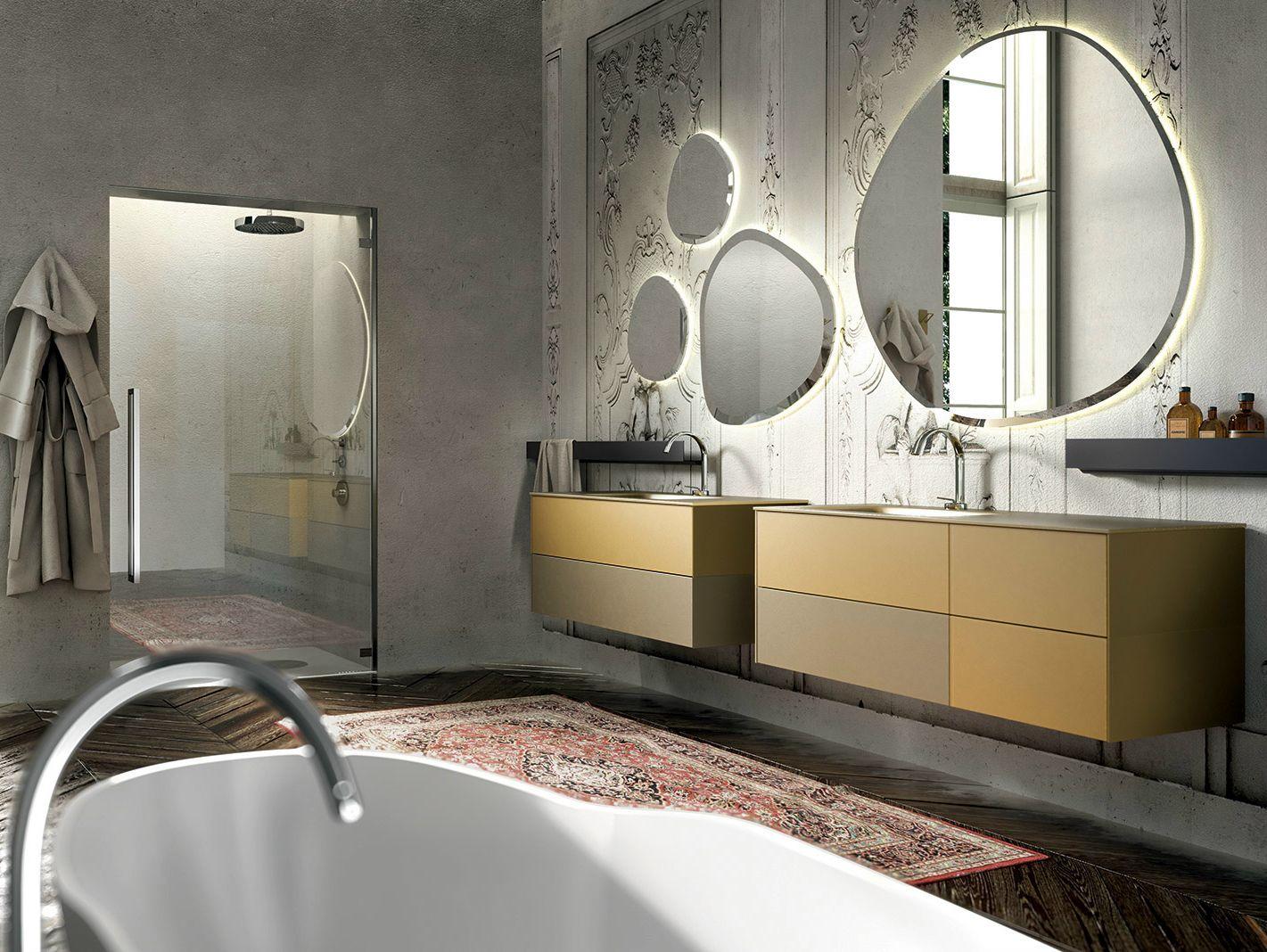 Mobile lavabo sospeso in vetro sabbiato con specchio enea 314 by edon by agor group - Agora mobili bagno ...