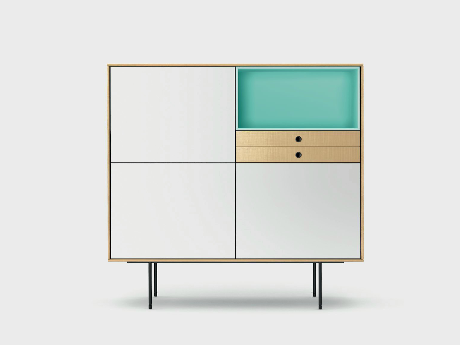 Lacquered solid wood highboard AURA S9-3 by TREKU design Angel Martí ...