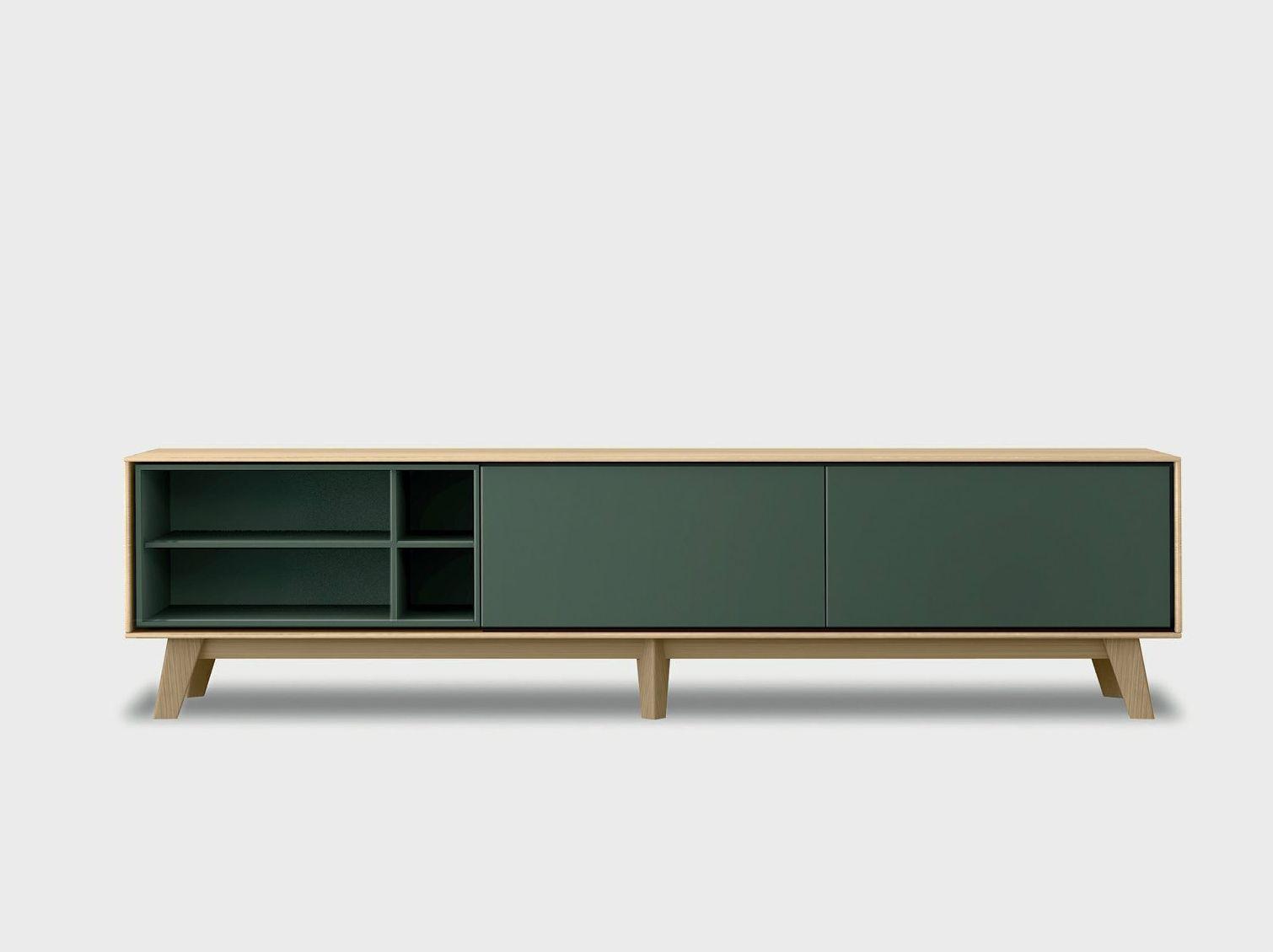 Metal furniture legs modern - Lacquered Solid Wood Sideboard Aura C2 3 By Treku Design Angel Mart 237
