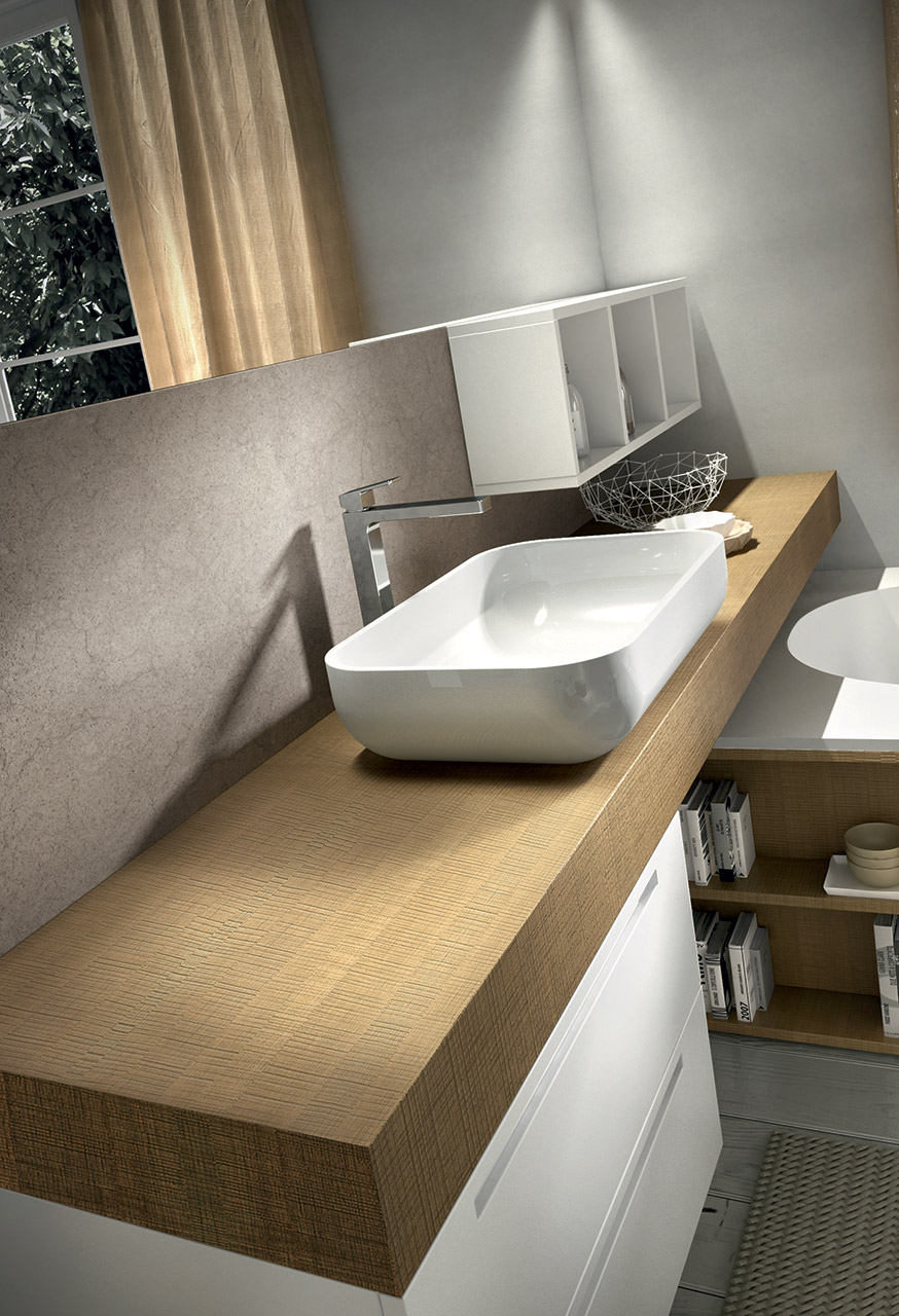 Meuble sous vasque mural avec miroir ker 320 by edon by for Meuble vasque avec miroir