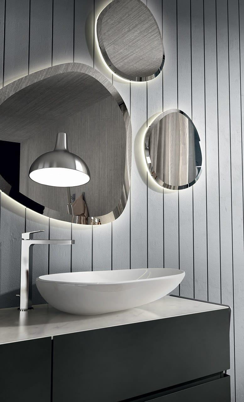 Meuble sous vasque double laqu e avec miroir nike 327 by edon by agor group - Agora mobili bagno ...