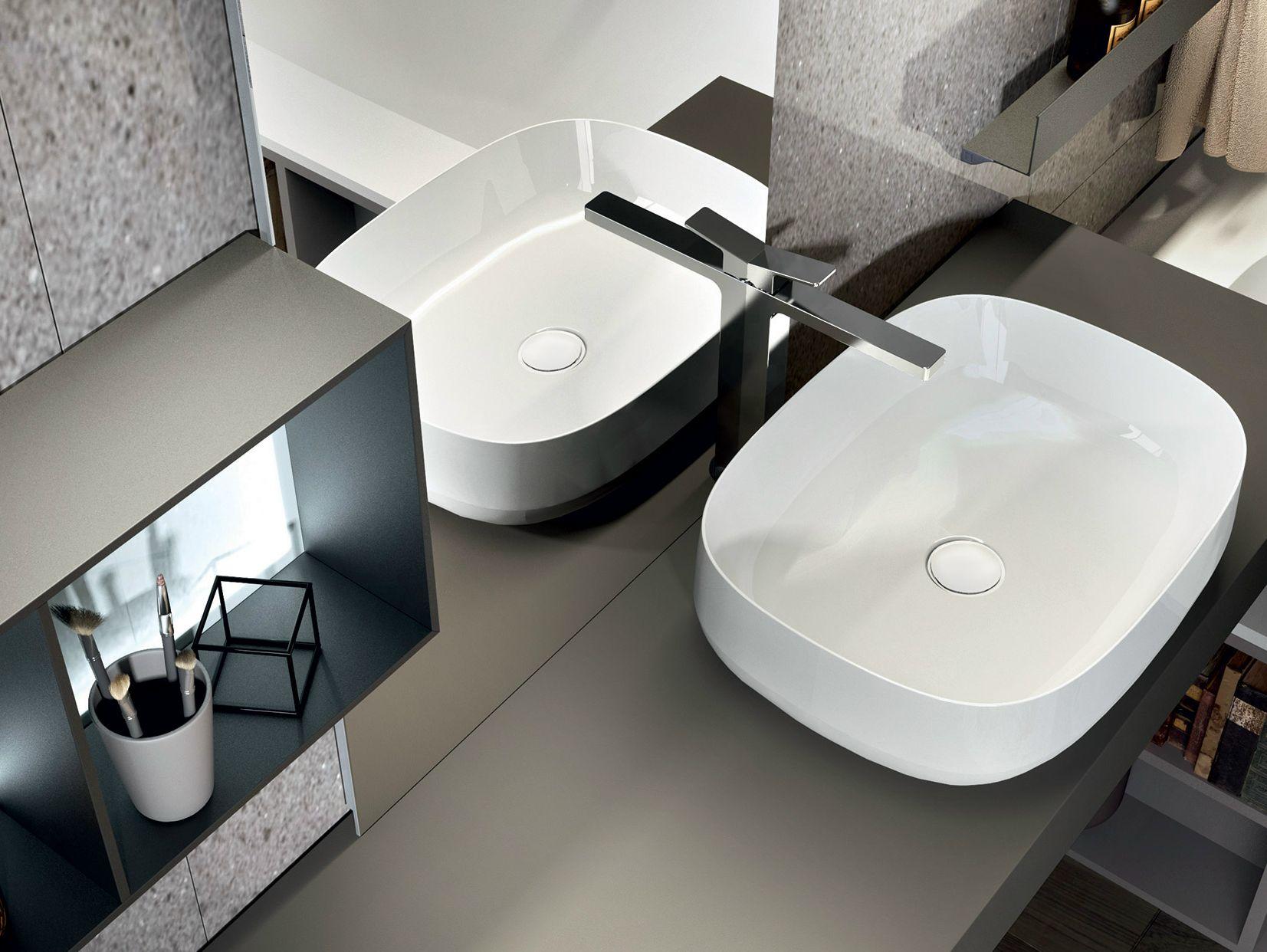 Mobile lavabo laccato sospeso con specchio nike 328 by edon by agor group - Agora mobili bagno ...