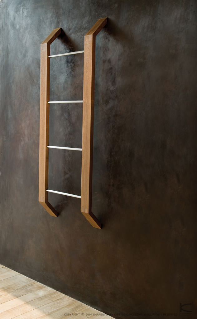 Towel racks porte serviettes by karpenter design hugues - Echelle en bois porte serviette ...
