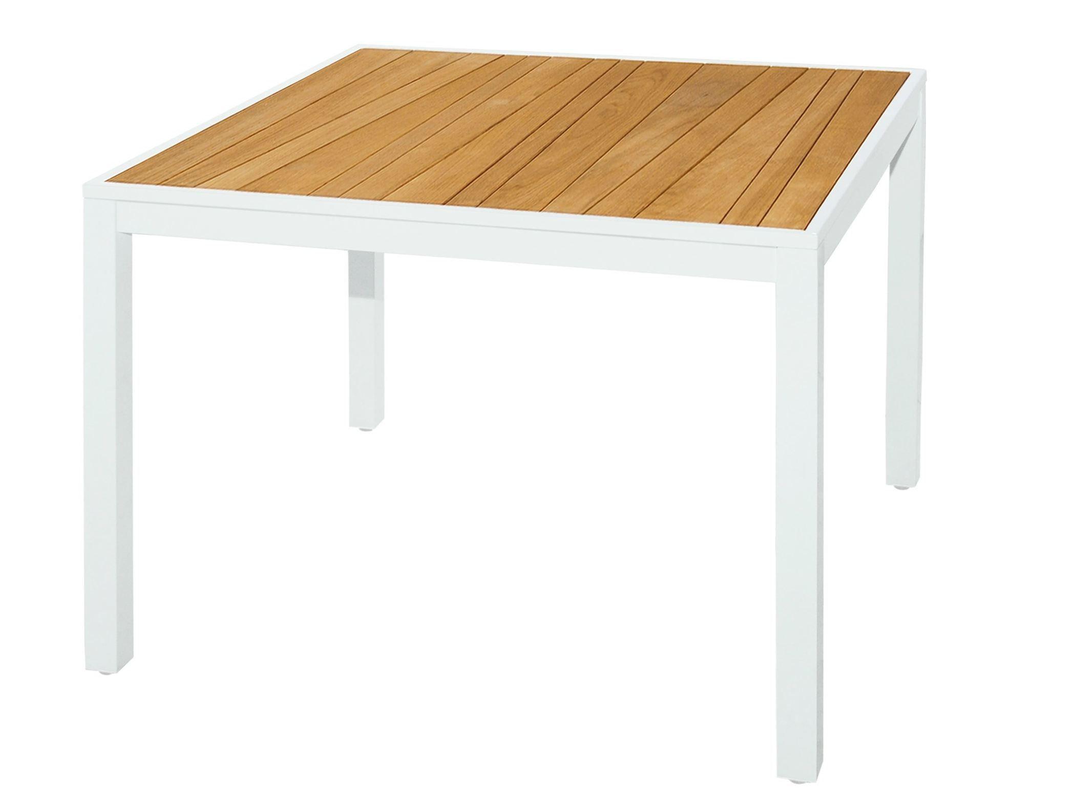 Tavolo da giardino quadrato in alluminio e legno allux tavolo da pranzo 100x100 cm by mamagreen - Tavolo quadrato 100x100 allungabile ...