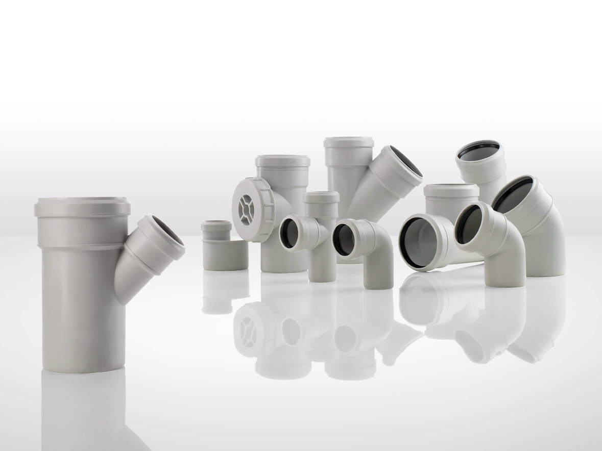 Soundproof waste and drainage system silere by valsir for Waste drainage system