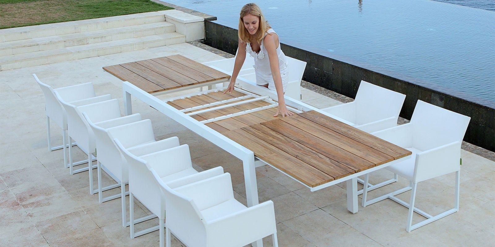 Tavolo allungabile da giardino in alluminio e legno baia - Tavolino esterno ...