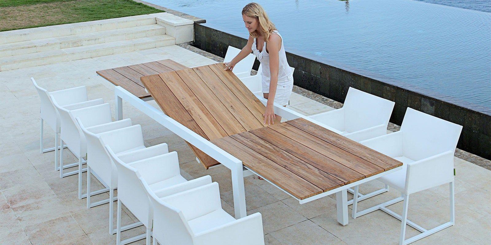 Tavolo Esterno Teak Amalfi : Tavolo allungabile da giardino in alluminio e legno baia